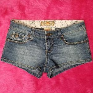 YMI Back Star Button Blue Jean Short Shorts - 3
